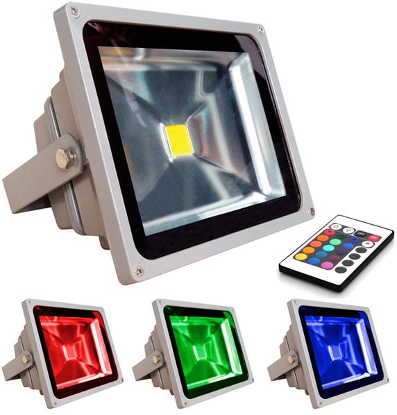 Refletor LED RGB 50W Luz Colorida 16 Cores Bivolt - Uso Externo