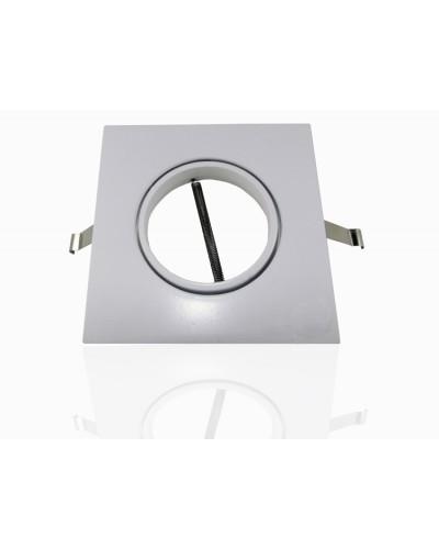 Spot De Embutir Quadrado Branco Basculante Para Lâmpada Dicroica