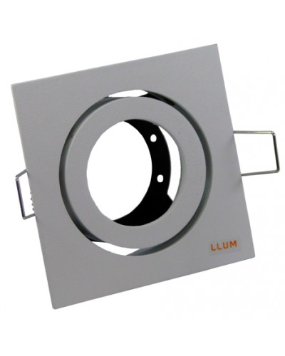 Spot De Embutir Quadrado Orbital 360º Lâmpada Dicroica, Branco Fosco