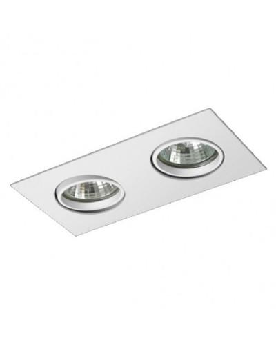 Spot Duplo De Embutir Direcionável P/ Lâmpada Dicroica Branco Brilhoso
