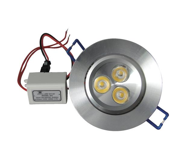 Spot LED 3W Completo Redondo Alumínio Direcionável