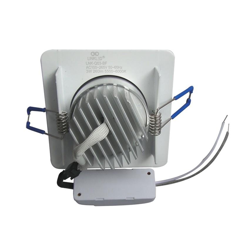 Spot LED 3W Completo Quadrado Alumínio Direcionável - LinkLED