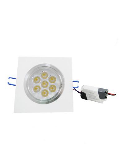Spot de LED de Embutir Quadrado Direcionável 7W Bivolt Automático