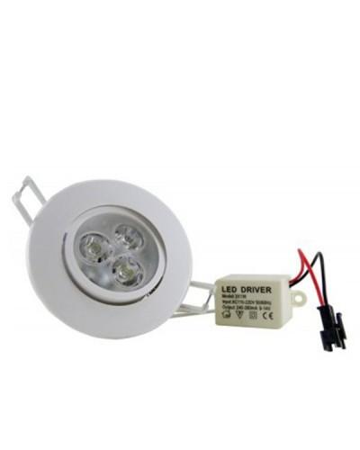 Spot LED 3Watts Completo Redondo Direcionável