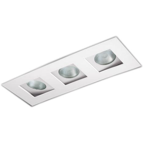 Spot Triplo Embutir Direcionável Para Lâmpada Mini-dicroica - Branco Brilhoso