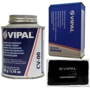 Kit Cimento Para Reparo Vulcanizante Cola Branca Cv-00 + Caixa Manchão Rac10 Vipal