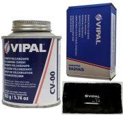 Kit Cimento Para Reparo Vulcanizante Cola Branca Cv-00 + Caixa Manchão Rac14 Vipal