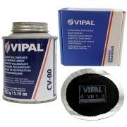Kit Cimento Para Reparo Vulcanizante Cola Branca Cv-00 + Caixa Manchão Vd01 Vipal