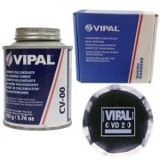 Kit Cimento Para Reparo Vulcanizante Cola Branca Cv-00 + Caixa Manchão Vd02 Vipal