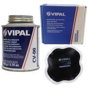 Kit Cimento Para Reparo Vulcanizante Cola Branca Cv-00 + Caixa Manchão Vd03 Vipal