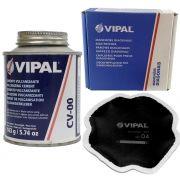 Kit Cimento Para Reparo Vulcanizante Cola Branca Cv-00 + Caixa Manchão Vd04 Vipal