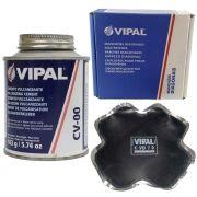 Kit Cimento Para Reparo Vulcanizante Cola Branca Cv-00 + Caixa Manchão Vd07 Vipal