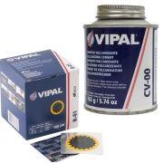 Kit Cimento Para Reparo Vulcanizante Cola Branca Cv-00 + Caixa Remendo R01 Vipal