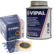 Kit Cimento Para Reparo Vulcanizante Cola Branca Cv-00 + Caixa Remendo R02 Vipal