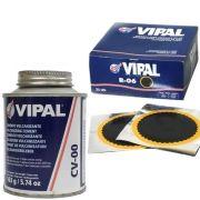 Kit Cimento Para Reparo Vulcanizante Cola Branca Cv-00 + Caixa Remendo R06 Vipal