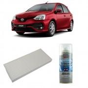 Kit Filtro Ar Condicionado + Higienizador Toyota Etios todos