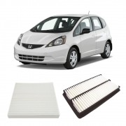 Kit Filtro Ar Motor + Filtro Ar Condicionado Fit 1.5 16V Flex  City 1.5 16V Flex 2009 a 2013