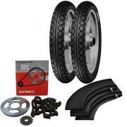 Kit Transmissão + Kit Pneu Pop 100 80/100-14 + 60/100-17 Mt15 Pirelli