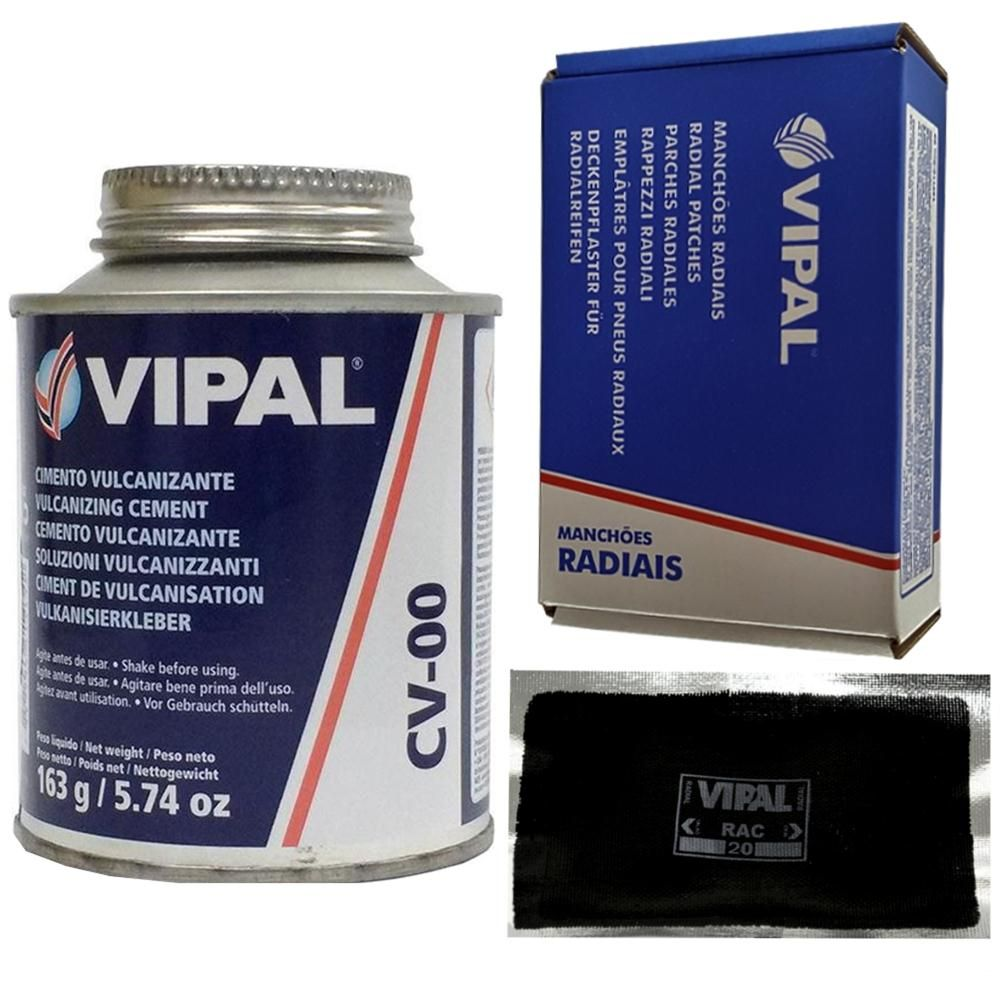 Kit Cimento Para Reparo Vulcanizante Cola Branca Cv-00 + Caixa Manchão Rac20 Vipal