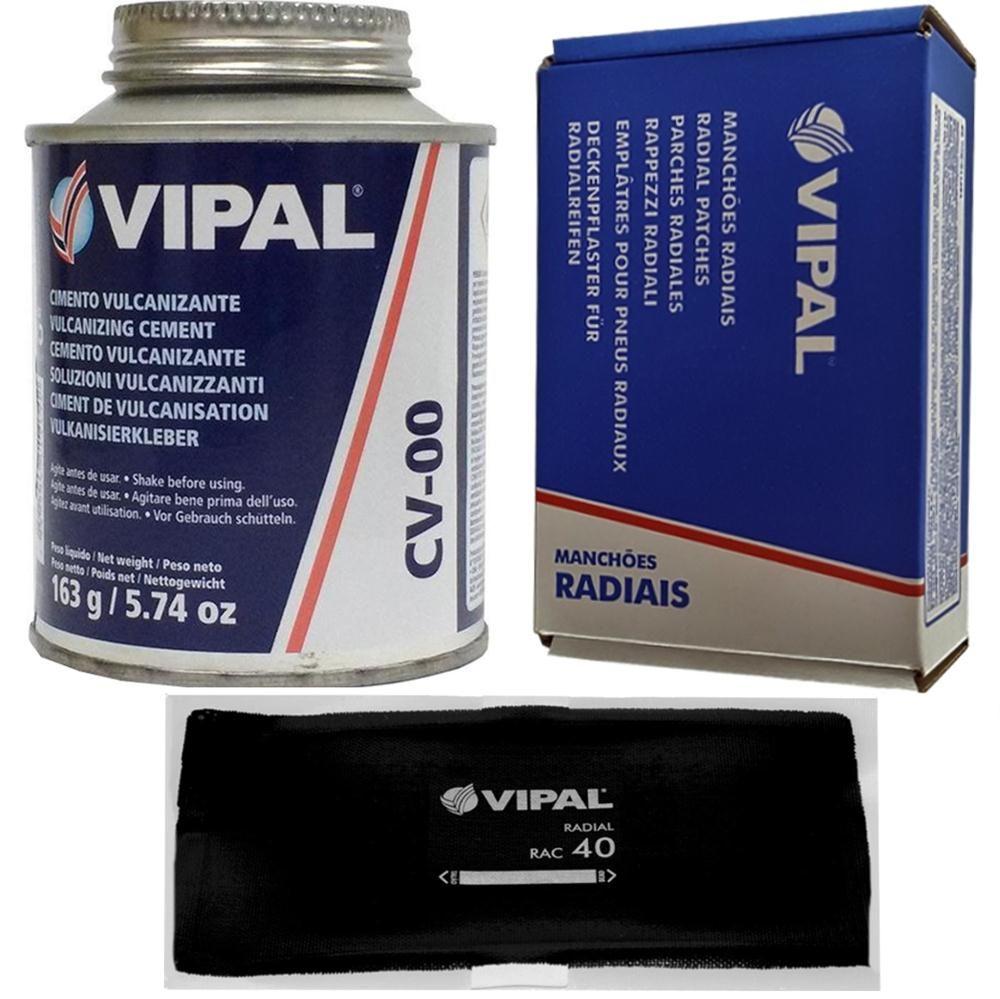 Kit Cimento Para Reparo Vulcanizante Cola Branca Cv-00 + Caixa Manchão Rac40 Vipal