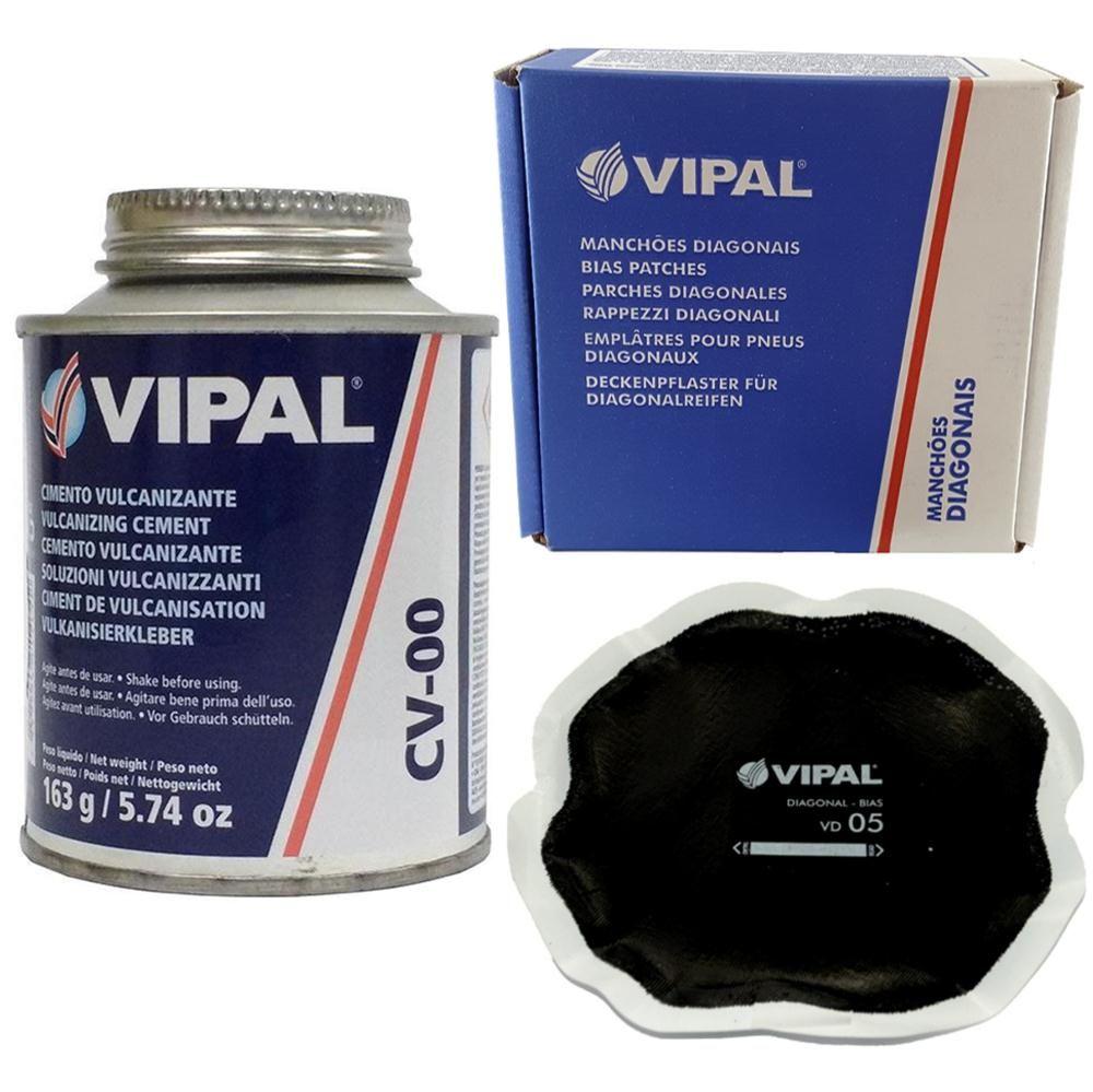 Kit Cimento Para Reparo Vulcanizante Cola Branca Cv-00 + Caixa Manchão Vd05 Vipal
