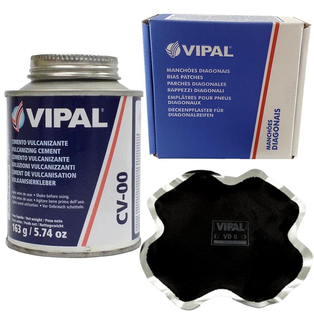 Kit Cimento Para Reparo Vulcanizante Cola Branca Cv-00 + Caixa Manchão Vd06 Vipal
