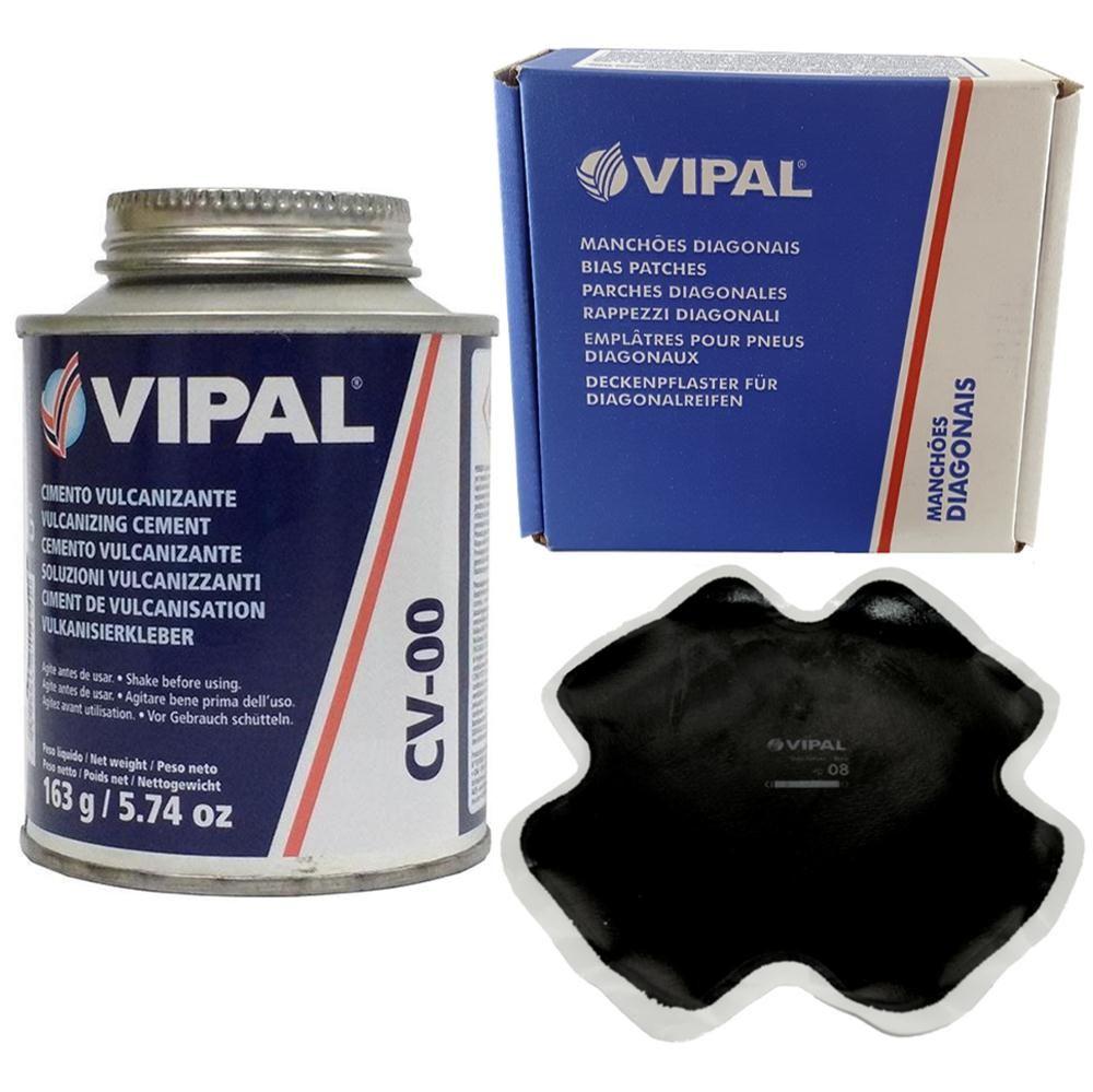 Kit Cimento Para Reparo Vulcanizante Cola Branca Cv-00 + Caixa Manchão Vd08 Vipal