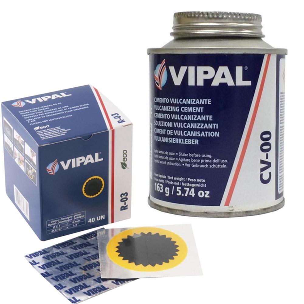 Kit Cimento Para Reparo Vulcanizante Cola Branca Cv-00 + Caixa Remendo R03 Vipal