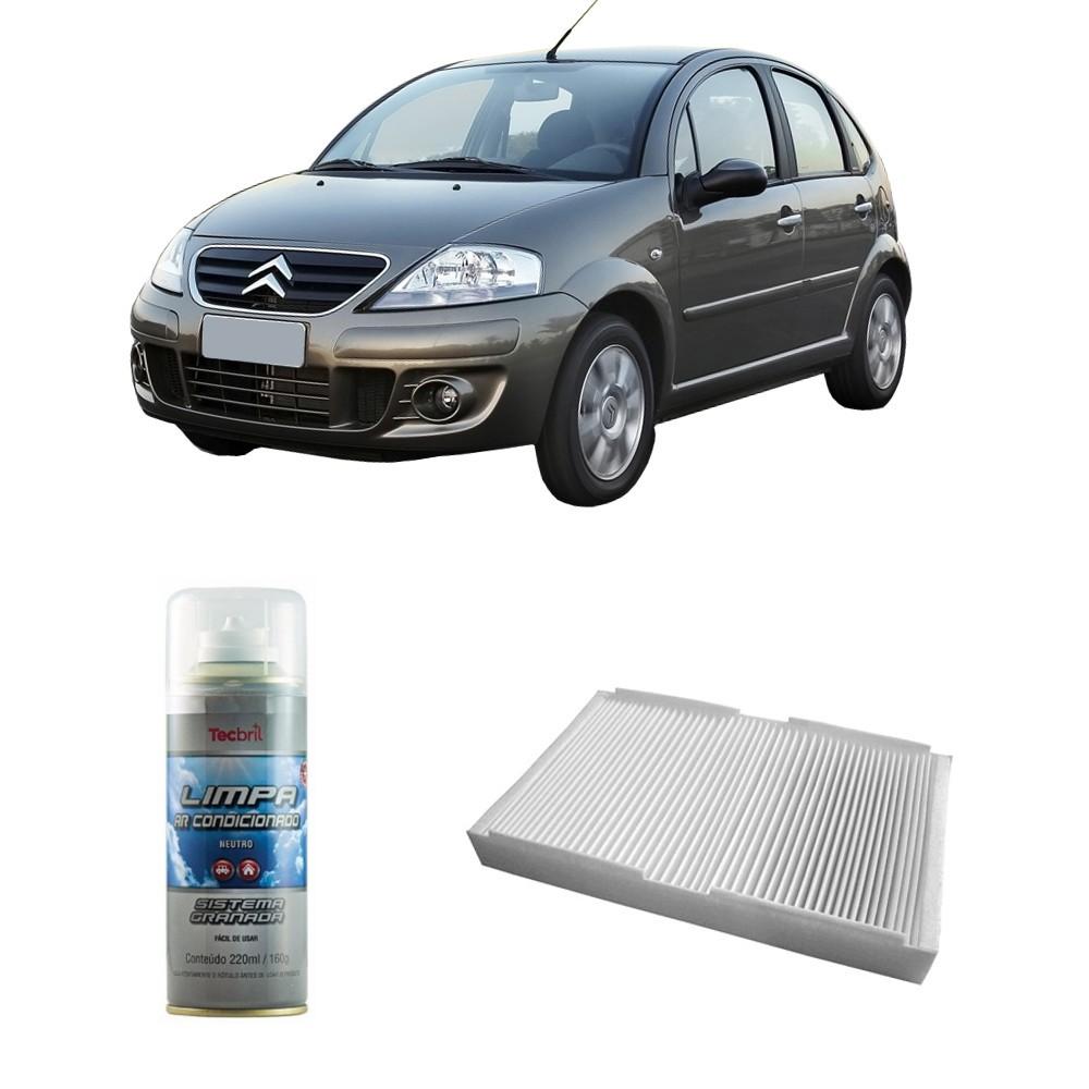 Kit Filtro Ar Condicionado + Higienizador Citroen C3 2001/2014