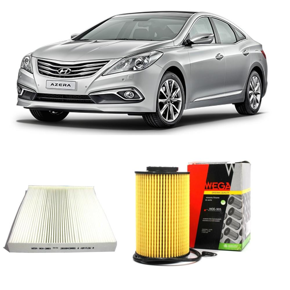 Kit Filtro Oleo + Filtro Ar Condicionado Hyundai Azera 2010 a 2011