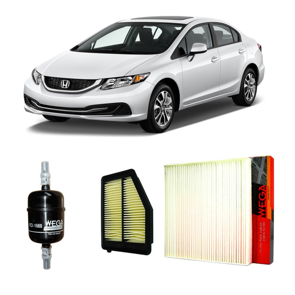 Kit Filtros Ar Motor + Ar Condicionado + Combustível Honda Civic 2013