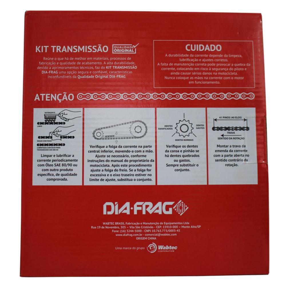 Kit Relação Moto Honda Titan 150 2004 a 2014 Transmissão Dft-07428 Dia-Frag