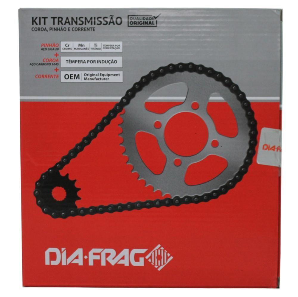 Kit Relação Moto Yamaha Factor 125 2009 a 2014 Transmissão Dft-12428 Dia-Frag