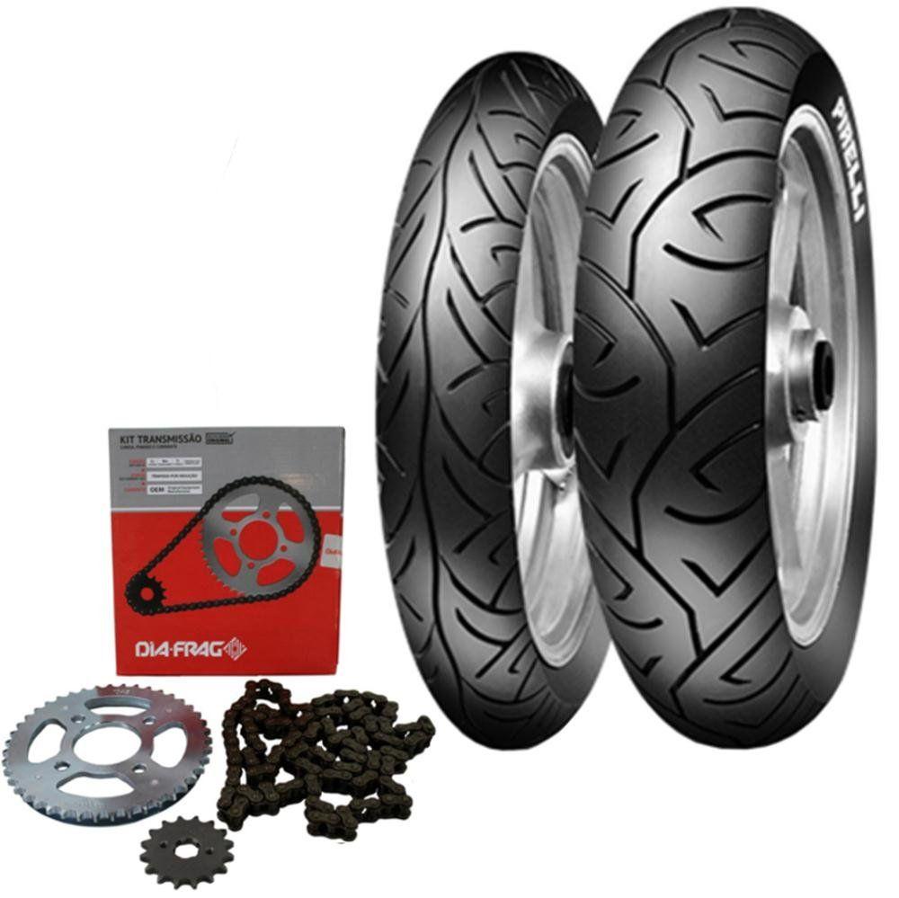 Kit transmissão +  Par Pneu Cb300 130/70-17 + 110/70-17 Sport Demon Pirelli