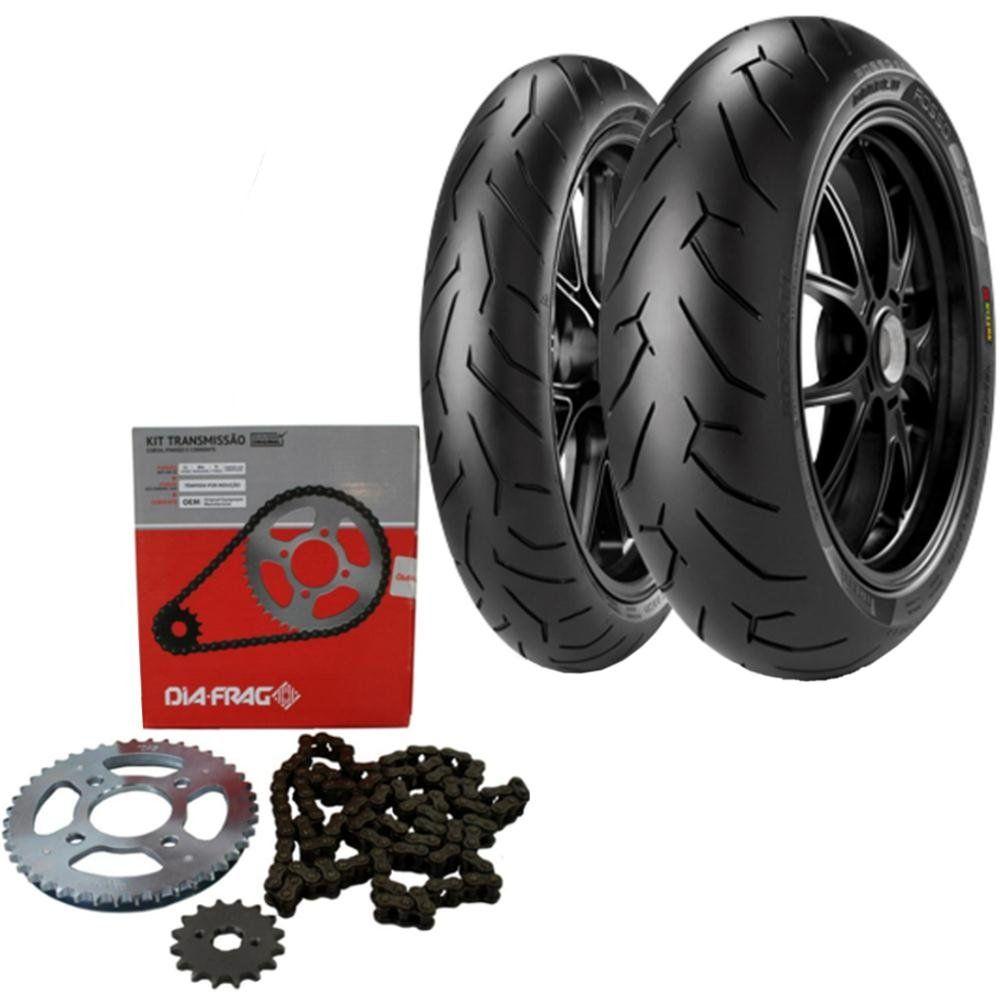 Kit Transmissão + Par Pneu Cb 300 140/70r17 + 110/70R17 Tl Diablo Rosso II Pirelli