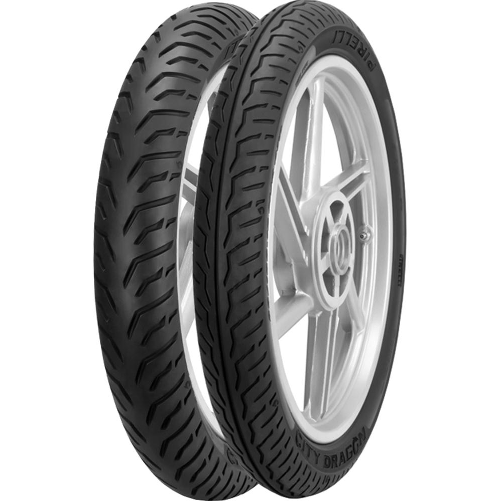 Par Pneu 90/90-18 + 80/100-18 City Dragon Pirelli Cg 125 Cbx 150