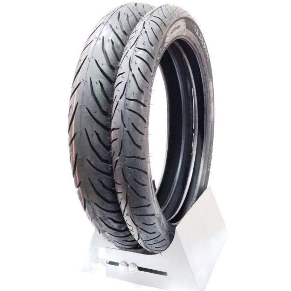 Par Pneu Balão Biz 125 Pop 110i 110/80-14 + 250-17 Super City Pirelli