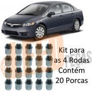 Kit 20 Porca Roda Cônica Cromada New Civic 2006 2007 2008 2009 2010 2011 2012 New Fit 2009 2010 2011 2012 Chave 21