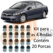 Kit 20 Porca Roda Cônica Cromada New Civic 2006 2007 2008 2009 2010 2011 2012 New Fit 2009 2010 2011 2012 Chave 21