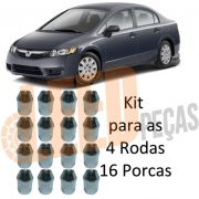Kit Porca Roda Cônica Cromada New Civic 2006 2007 2008 2009 2010 2011 2012 New Fit 2009 2010 2011 2012 Chave 21