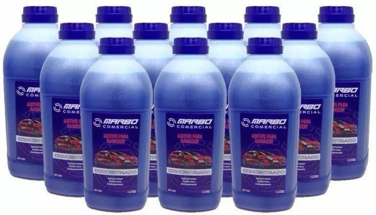 2 Caixas com 12 Aditivo Azul Marbo Concentrado Radiador Long Life (total 24 frascos)