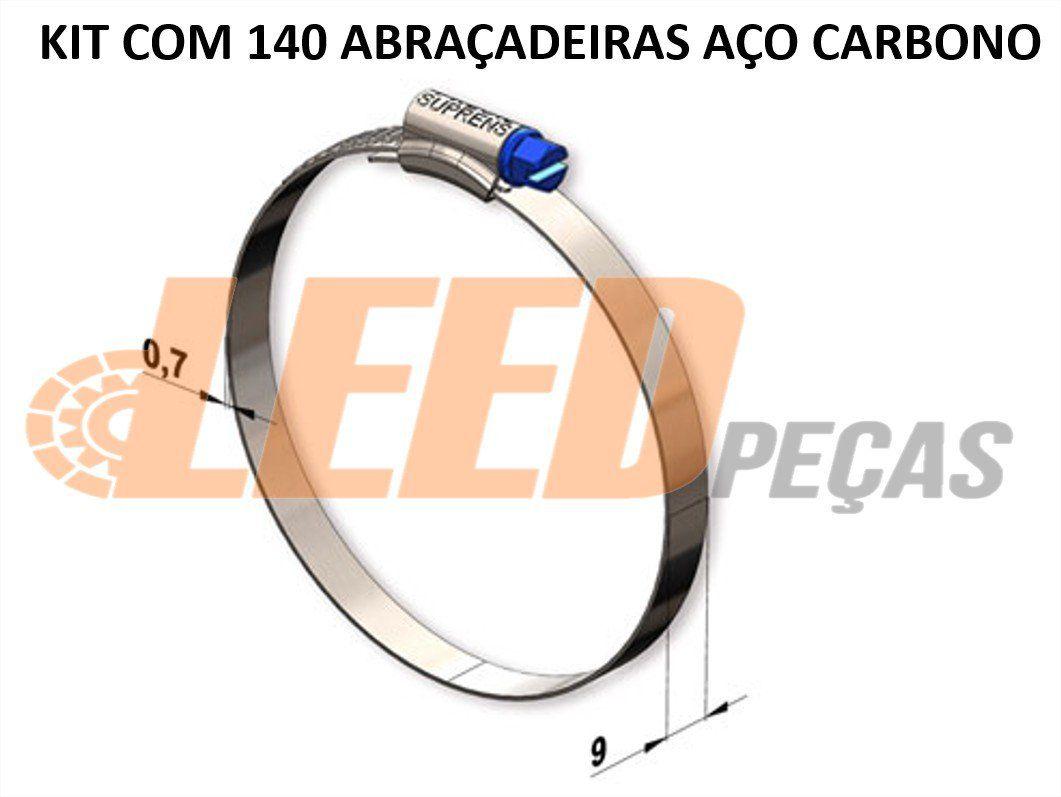 kit 140 ABRAÇADEIRA ROSCA SEM FIM AÇO CARBONO 140X159=5 1/2X6 1/4