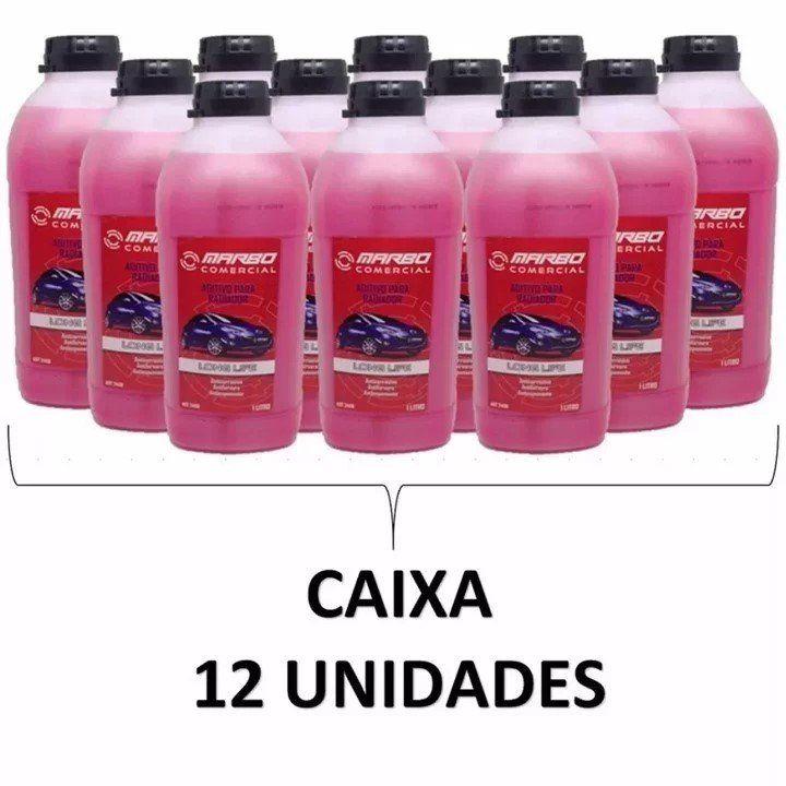 Caixa 12 Aditivo Rosa Marbo Concentrado Radiador Long Life