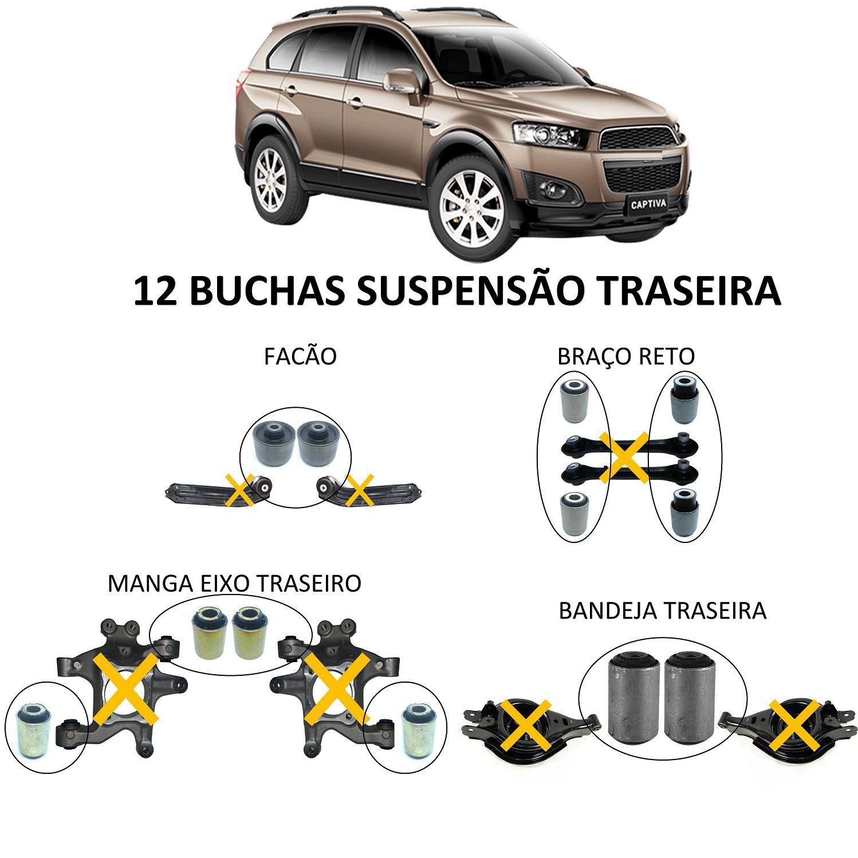 Kit 12 Bucha Suspensão Traseira Captiva 2008 2015