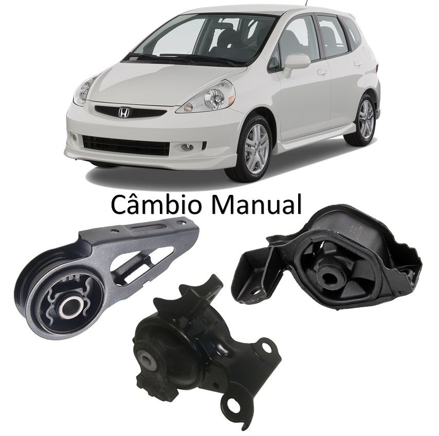 Kit 3 Calço Coxim Motor Câmbio Honda Fit 03 A 08 Manual