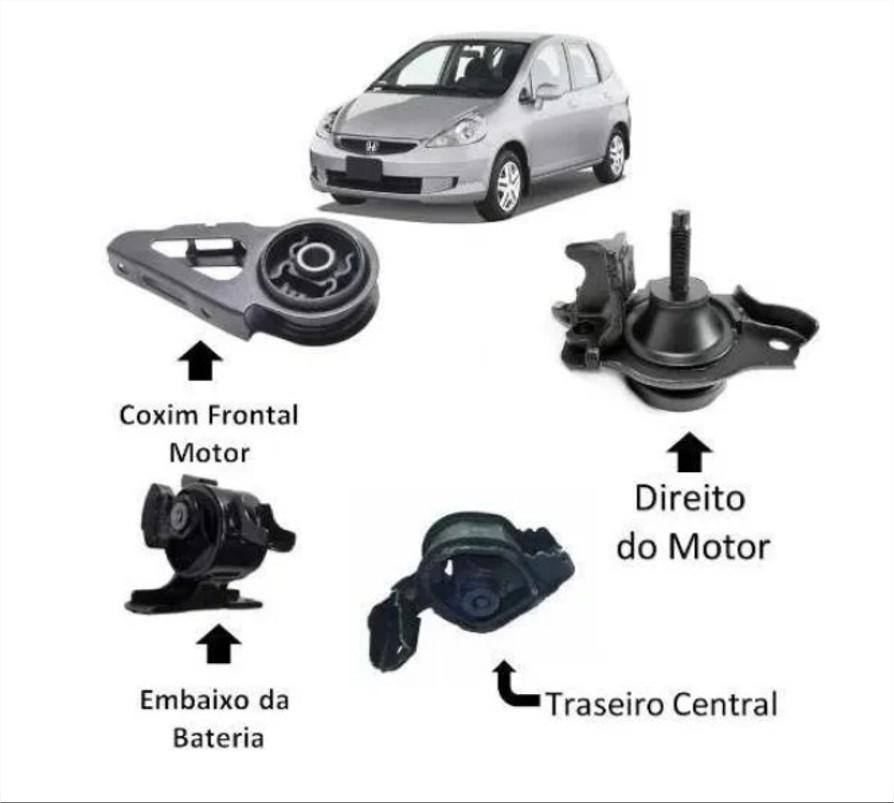 Kit 4 Calço Coxim Motor Câmbio Honda Fit 03 A 08 Manual