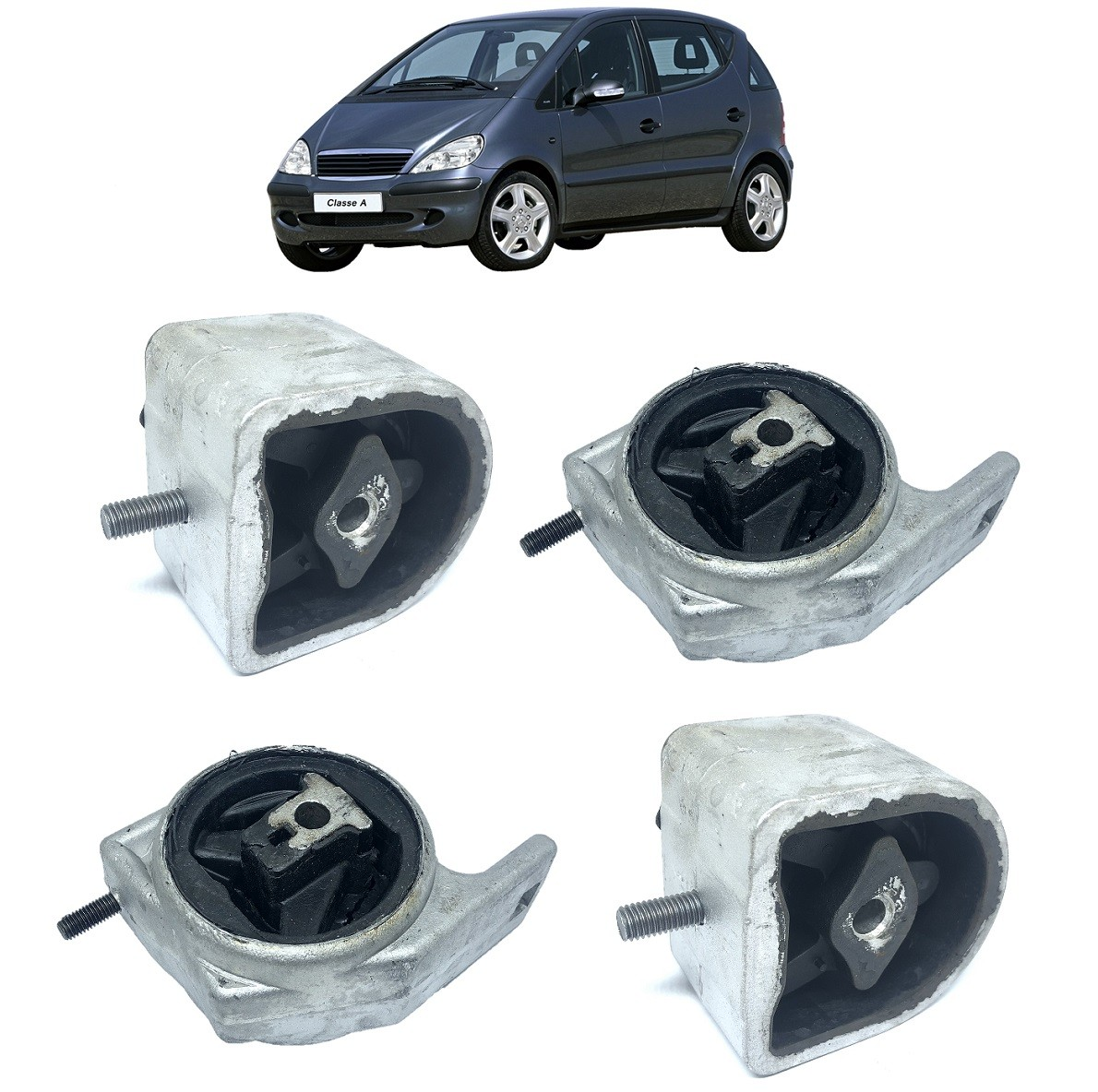 Kit 4 Calço Coxim Motor Câmbio Mercedes Classe A 160 1999 2000 2001 2002 2003 2004 2005 Classe A 190 2000 2001 2002 2003 2004 2005