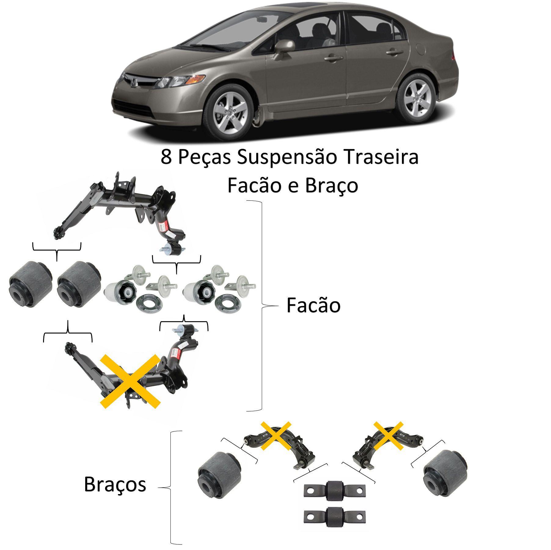 Kit Bucha Braço Facão Eixo Traseiro New Civic 2006 2012
