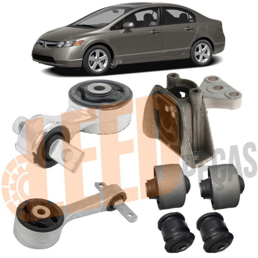 Kit Coxim Motor Câmbio Manual Bucha New Civic Manual 2006 2007 2008 2009 2010 2011 2012