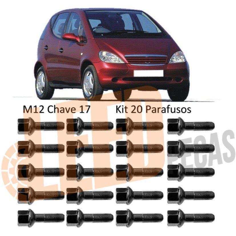 Kit Jogo Parafuso Roda Mercedes Classe A 160 190 1999 2000 2001 2002 2003 2004 2005 Cromado M12X1,50 x 38,5 Chave 17 Esférico